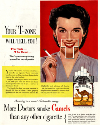 Camel cigarettes stimulate your T-zone