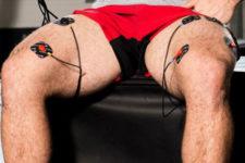 Neuro muscular electrical stimulator on the legs