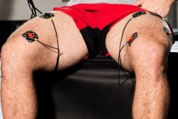 Neuro muscular electrical stimulator on the legs