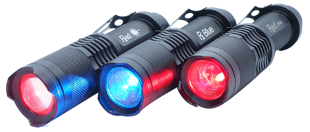 Light torches outputting blue, red, and both blue and red