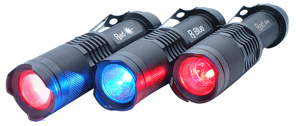 PTI red, blue, and red plus blue torches